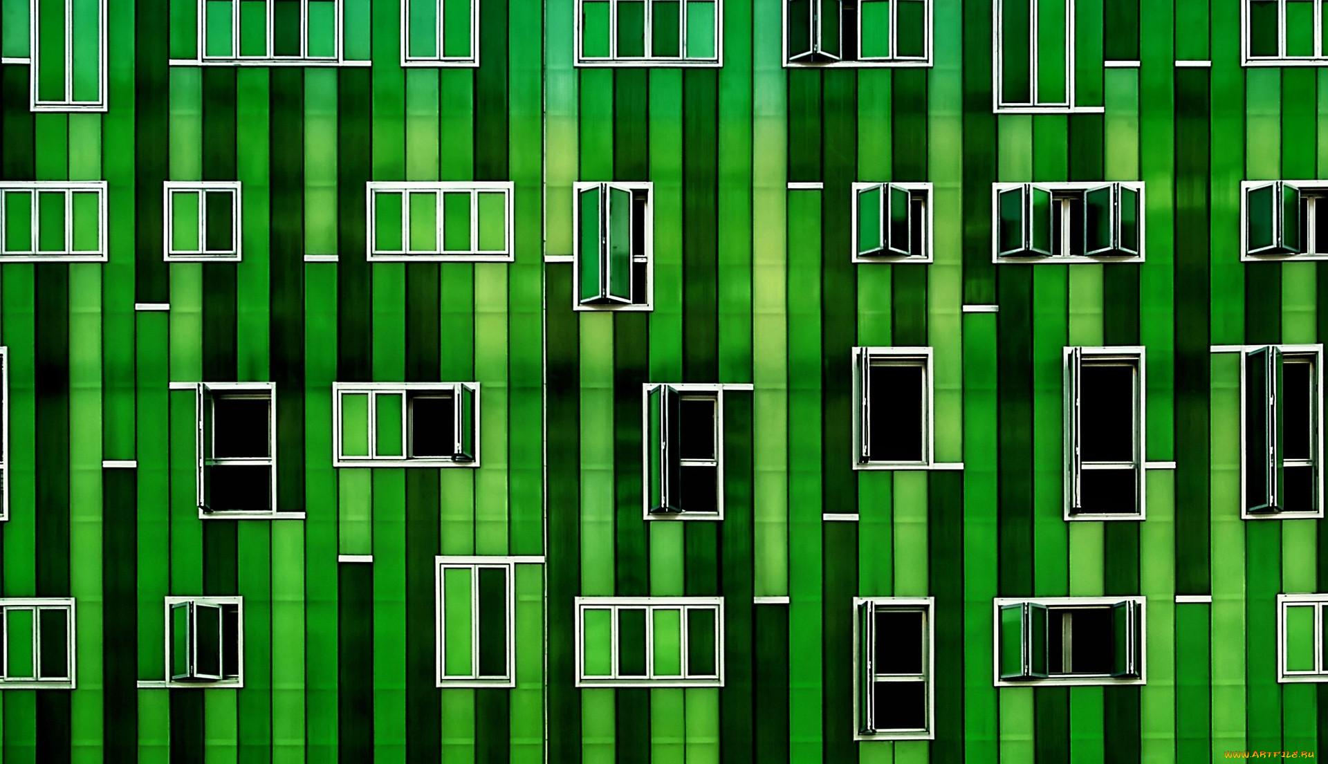города, - здания,  дома, окна, дом, зеленый